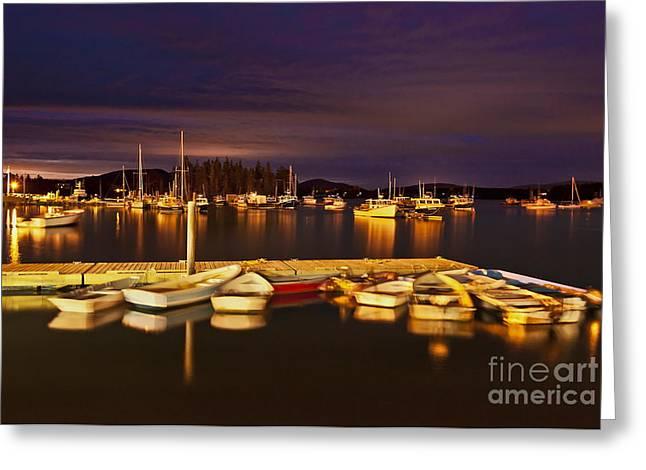 New England Village Greeting Cards - Harbor Night Greeting Card by John Greim
