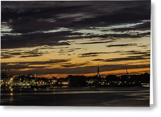 Massachusetts Greeting Cards - Harbor Night Greeting Card by Kate Hannon