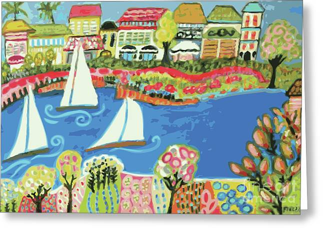 Beach Cottage Style Digital Art Greeting Cards - Harbor Of Gardens  Greeting Card by Karen Fields