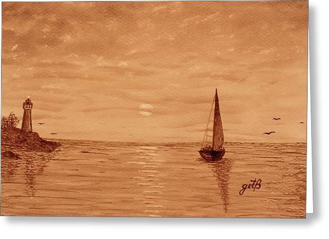 Harbor Sunset Greeting Card by Georgeta  Blanaru