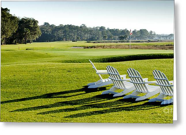 Adirondack Chair Greeting Cards - Harbor Town at Seapines 18th Hole Greeting Card by Dustin K Ryan