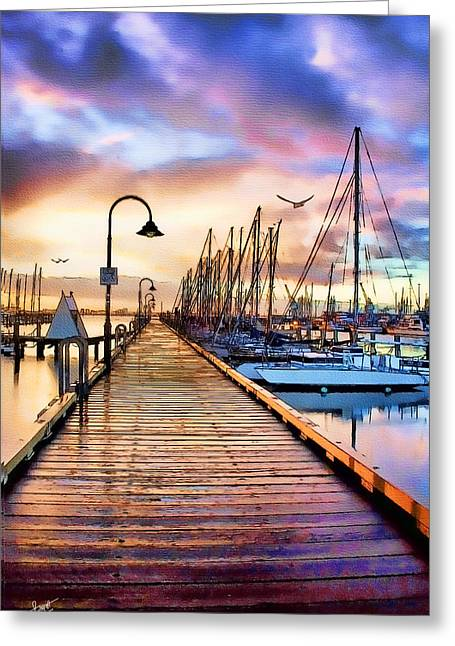 Harbor Town Greeting Card by Tom Schmidt