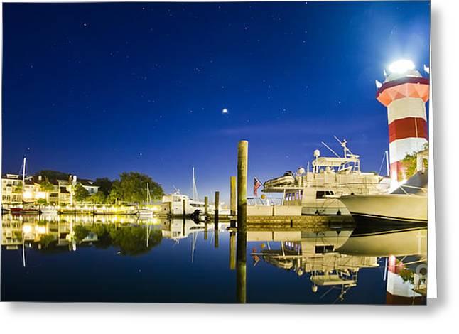 Town Photographs Greeting Cards - Harbor Town Yacht Basin Light House Hilton Head South Carolina Greeting Card by Dustin K Ryan