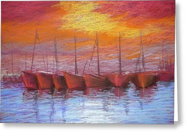Sailing Boat Pastels Greeting Cards - Harbour Greeting Card by Regina Levai