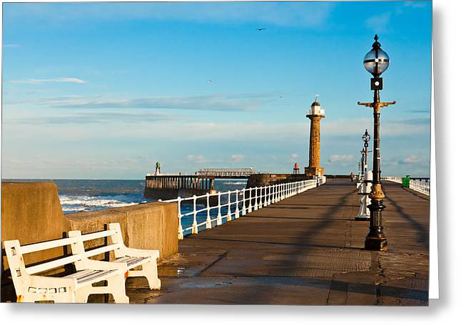 Abbey Giclee Print Greeting Cards - Harbour wall Greeting Card by Gary Finnigan