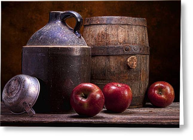 Canned Fruit Greeting Cards - Hard Cider Still Life Greeting Card by Tom Mc Nemar