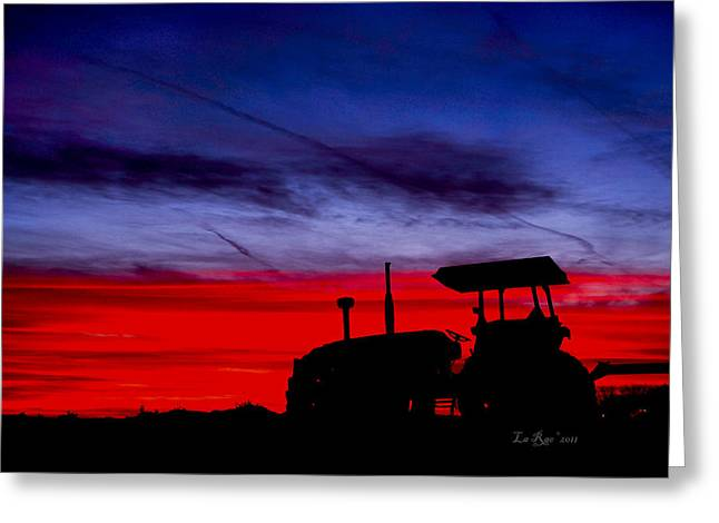California Agriculture Greeting Cards - Hard Day Ends Greeting Card by La Rae  Roberts