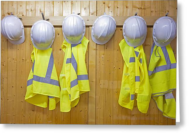 Hard Hat Greeting Cards - Hard Hats And Safety Vests Greeting Card by Corepics