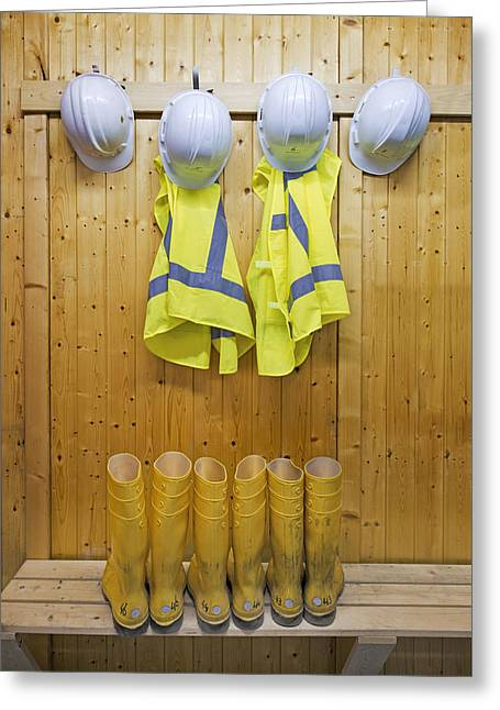 Hard Hat Greeting Cards - Hard Hats Safety Vests With Reflective Greeting Card by Corepics