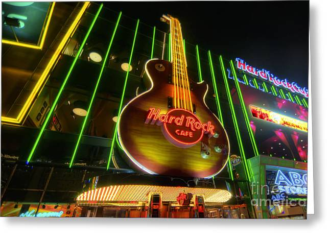 The Les Paul Guitar Greeting Cards - Hard Rock Cafe - Las Vegas Greeting Card by Yhun Suarez