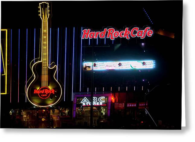 Hard Rock Cafe Building Greeting Cards - HardRock Cafe - Las Vegas Greeting Card by Brendan Reals