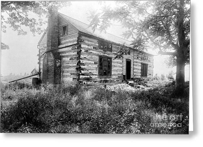 Log Cabin Photographs Greeting Cards - HARDSCRABBLE CABIN, c1890 Greeting Card by Granger