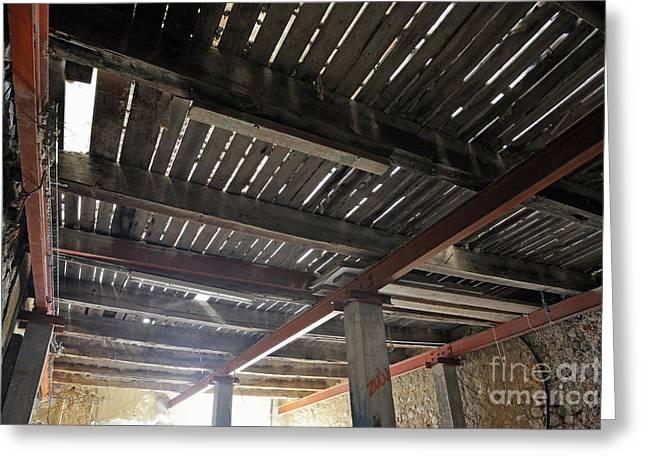 """hardwood Floor"" Greeting Cards - Hardwood Floor under heavy renovation Greeting Card by Sami Sarkis"