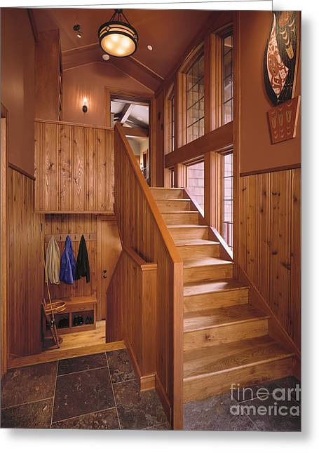 Entryway Greeting Cards - Hardwood Staircase Greeting Card by Robert Pisano