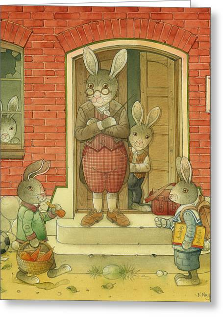 Hare Greeting Cards - Hare School Greeting Card by Kestutis Kasparavicius
