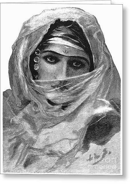 Eyebrow Greeting Cards - HAREM WOMAN, 19th CENTURY Greeting Card by Granger