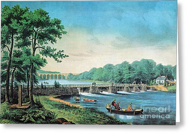 Harlem River Greeting Cards - Harlem River, New York, 19th Century Greeting Card by Photo Researchers