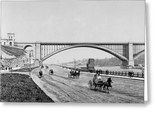 Harlem River Greeting Cards - Harlem River Speedway Scene Beneath the George Washington Bridge Greeting Card by International  Images