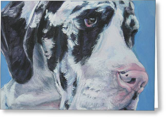 Recently Sold -  - Puppies Paintings Greeting Cards - harlequin Great Dane Greeting Card by Lee Ann Shepard