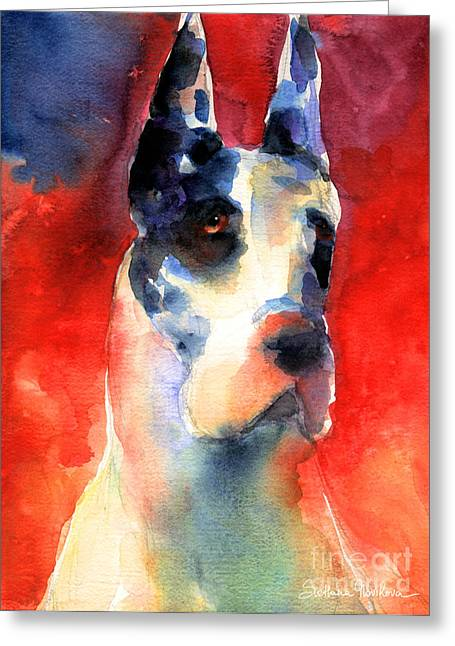 Puppies Greeting Cards - Harlequin Great dane watercolor painting Greeting Card by Svetlana Novikova