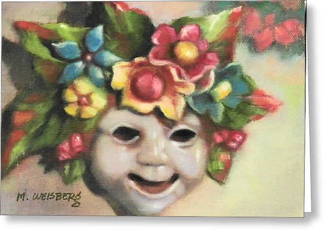 Italian Pottery Greeting Cards - Harlequin Mask Greeting Card by Marilyn Weisberg