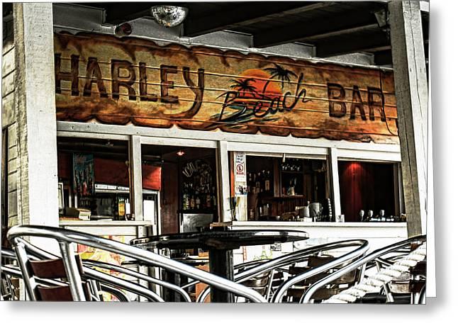 Beachfront Greeting Cards - Harley Beach Bar Greeting Card by Jasna Buncic