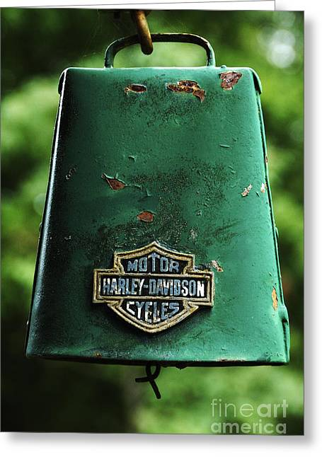 American Icons Photographs Greeting Cards - Harley Davidson Cow Bell Greeting Card by Thomas R Fletcher