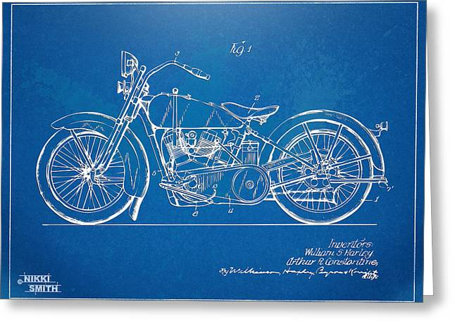 Blue Bike Greeting Cards - Harley-Davidson Motorcycle 1928 Patent Artwork Greeting Card by Nikki Marie Smith