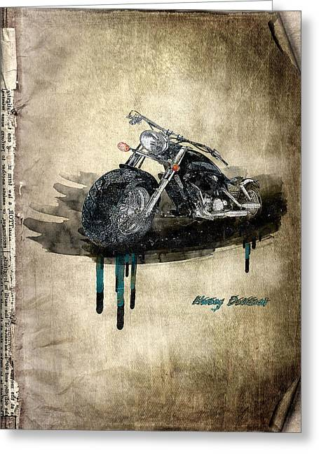 Rare Mixed Media Greeting Cards - Harley Davidson Greeting Card by Svetlana Sewell