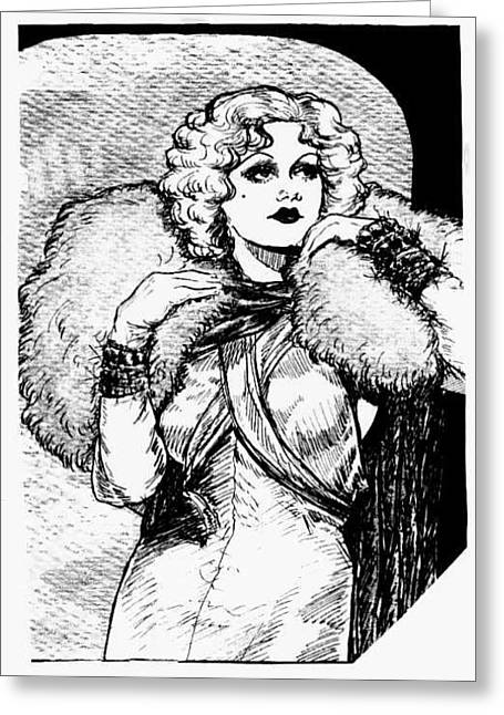 1933 Movies Greeting Cards - Harlow Black and White Greeting Card by Mel Thompson