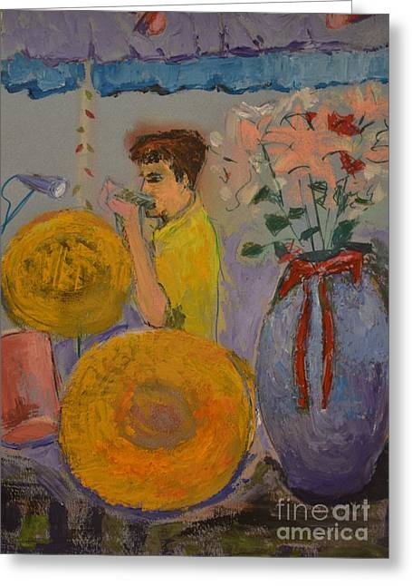 Set Pastels Greeting Cards - Harmonica Man Greeting Card by Karen Francis