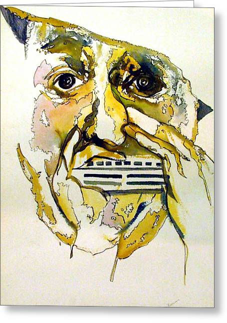 Nose Drawings Greeting Cards - Harmonica Player Greeting Card by Mindy Newman