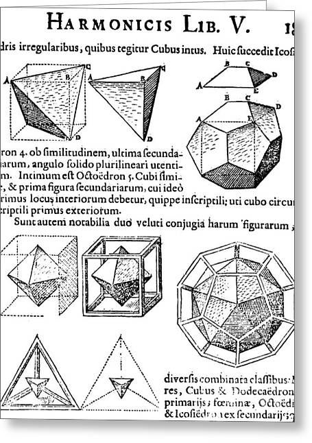 Dodecahedron Greeting Cards - Harmonices Mundi, 1619 Greeting Card by Science Source