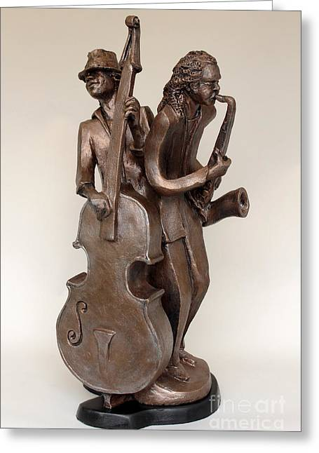 Ceramic Sculpture Sculptures Greeting Cards - Harmonizing in A Greeting Card by Wayne Headley