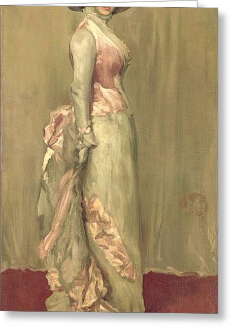 Historical Clothing Greeting Cards - Harmony in Pink and Grey Lady Meaux Greeting Card by James Abbott McNeill Whistler