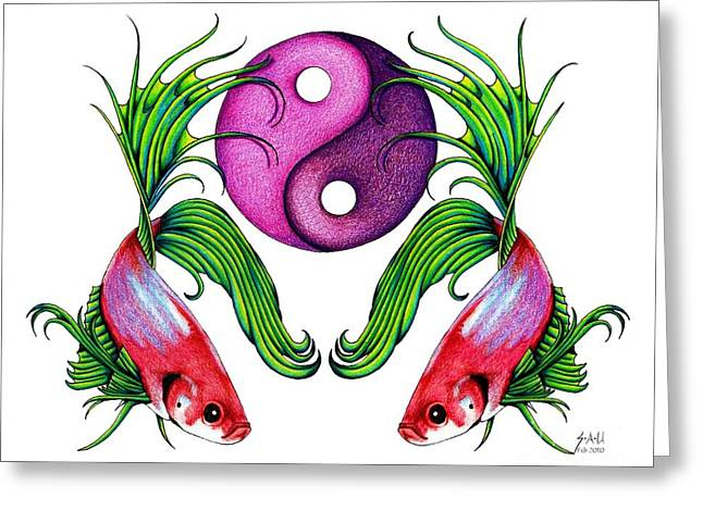 Ying Drawings Greeting Cards - Harmony Together Greeting Card by Sheryl Unwin