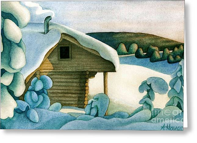 Watercolor Skiing Print Greeting Cards - Harold Price Cabin Greeting Card by Anne Havard