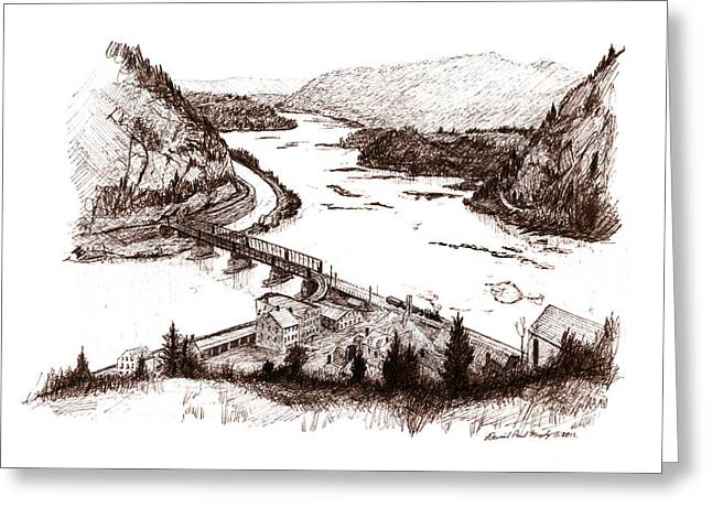 Harpers Ferry Drawings Greeting Cards - Harpers Ferry Greeting Card by Daniel Paul Murphy