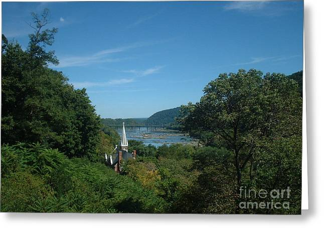 Harpers Ferry Paintings Greeting Cards - Harpers Ferry Long View Greeting Card by Mark Robbins