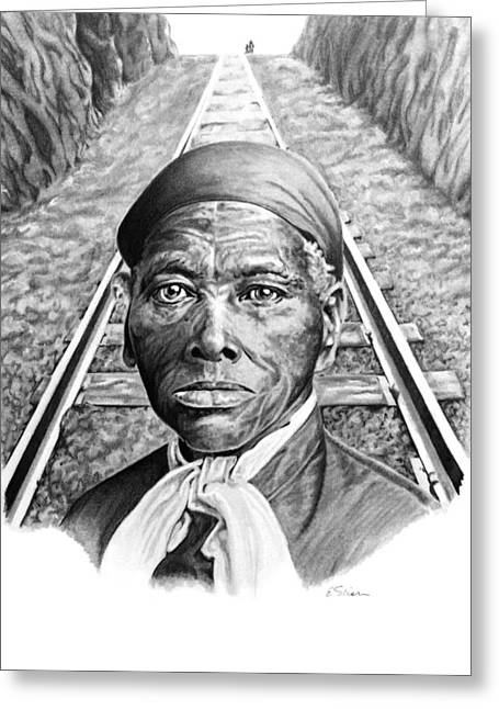 African-american Drawings Greeting Cards - Harriet Tubman Greeting Card by Elizabeth Scism