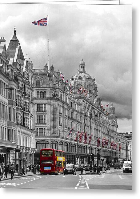 Department Stores Greeting Cards - Harrods of Knightsbridge bw hdr Greeting Card by David French