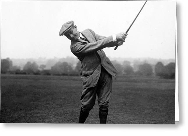 Harry Vardon Swinging His Golf Club Greeting Card by International  Images