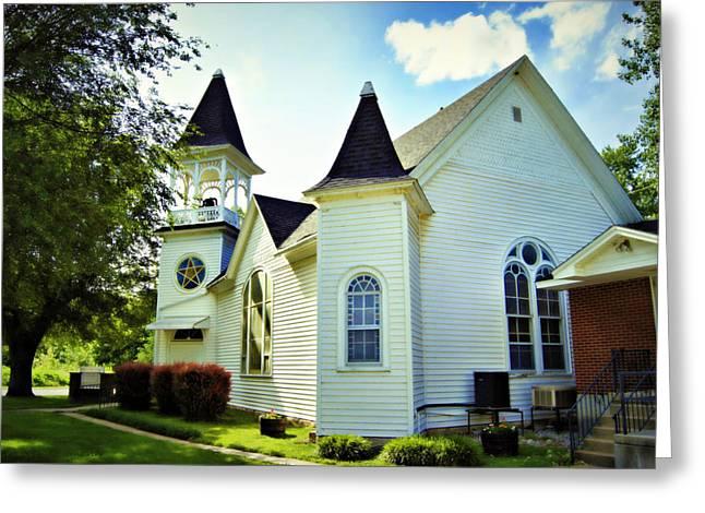 Hartsburg Greeting Cards - Hartsburg Baptist Church Greeting Card by Cricket Hackmann