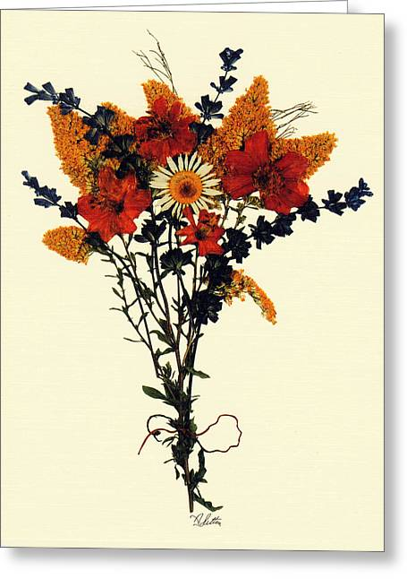 Grapevine Leaf Mixed Media Greeting Cards - Harvest Bouquet Greeting Card by Kay  Sutton
