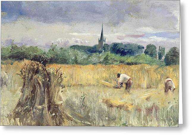 Stratford Greeting Cards - Harvest Field at Stratford upon Avon Greeting Card by John William Inchbold