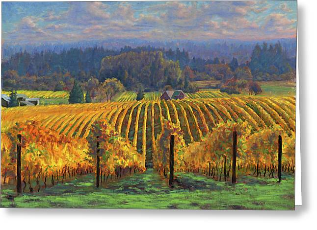 Grape Vineyard Greeting Cards - Harvest Gold Greeting Card by Michael Orwick