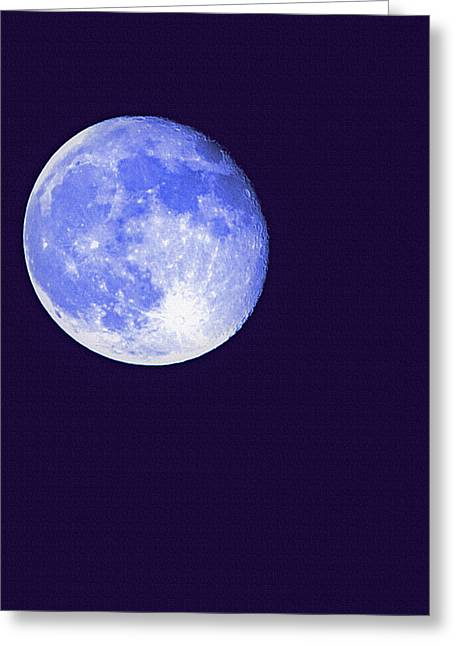 Moonshine Mixed Media Greeting Cards - Harvest Moon - Blue Moon Greeting Card by Steve Ohlsen