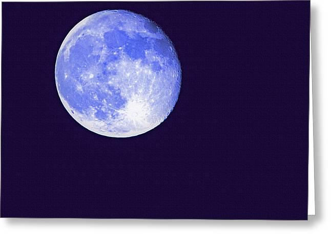 Harvest Moon - Blue Moon Greeting Card by Steve Ohlsen