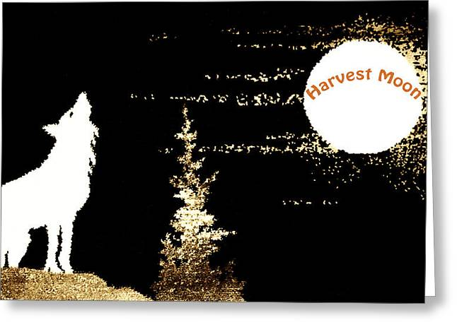 Halloween Sign Greeting Cards - Harvest Moon Coyote 1 Greeting Card by Marilyn Hunt
