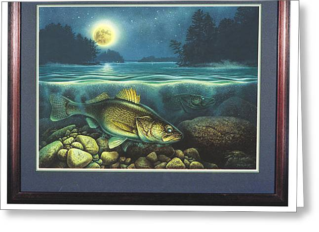 Bobber Greeting Cards - Harvest Moon Walleye 3 Greeting Card by JQ Licensing